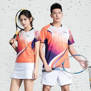 Wholesale Adsmoney new short sleeved badminton clothing suits breathable and quick drying sportswear for men and women tennis skirts