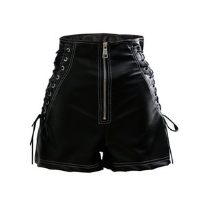 Wholesale Onlyplus Spring Sexy Women Faux PU Shorts Zipper Style High Waist Fake Leather broad legged Short Solid Slim Feminino Shorts