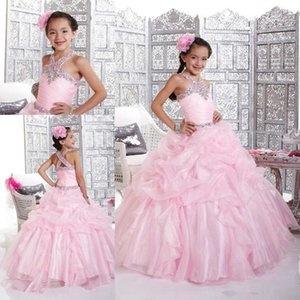 Wholesale sparkly dresses for little girls resale online - 2020 Pink Sparkly Girl s Pageant Dress Princess Ball Gown Rhinestone Party Cupcake Prom Dress Short Girl Pretty Dress For Little Kid