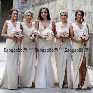 2019 Cheap Vintage Bridesmaid dress Charming sexy country Mermaid maid of honor gowns V Neck High Split Cheap Beach Wedding Guest Gowns on Sale