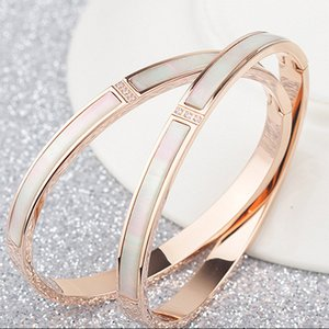Wholesale Titanium steel K rose gold cz diamond white shell love bangle women gold natural shell set diamond bracelet