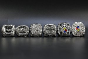6pcs set 1974 1975 1978 1979 2005 2008 Pittsburgh Football World Championship Ring Wholesale Free Shipping Silver