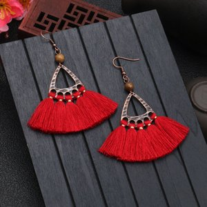 New Korean fashion long tassel earrings female temperament wooden beads accessories bohemian pop diamond ear jewelry 5 pcs