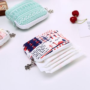 Wholesale Women Girl Cute Sanitary Pad Organizer Lovely Printed Purse Holder Napkin Towel Cosmetic Storage Bags Sanitary Napkin Pouch Bag DH1360 T03