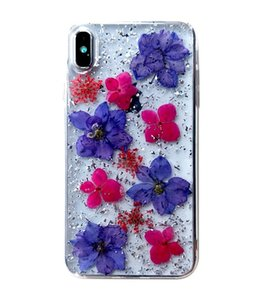 fashion TPU PC Hybrid Made with Real Flowers Slim Protective Design Case With Opp Bag For iPhone 6 7 8 Plus X XR XS MAX