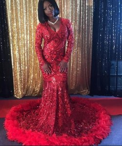 Wholesale Red Sequins Feather Mermaid Evening Dresses African Formal Wear Long Sleeves Prom Dress Black Girls Deep V Neck Custom Plus Size Party Gown
