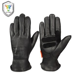 Wholesale OZERO Motorcycle Gloves Leather Genuine Sheepskin Retro Motocross Motorbike Biker Racing Riding Hand Motor Moto Gloves Men