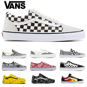Wholesale 2019 Original Vans old skool sk8 mens womens canvas sneakers black white red YACHT CLUB fashion skate casual shoes size