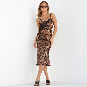 Wholesale Youthful Popularity Sleeveless Buttocks Bridesmaid Women Clothes Sling Sequins Leopard Dress High Waist One step Casual Dresses