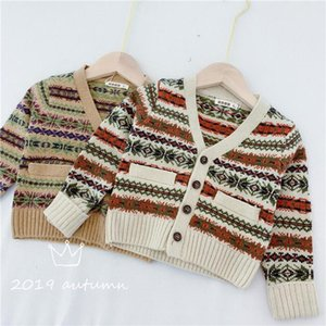 Newest Designs Infant Baby Boys Girls Sweater Cardigan Long Sleeve Stripes Front Buttons Pockets V-neck Children Sweaters
