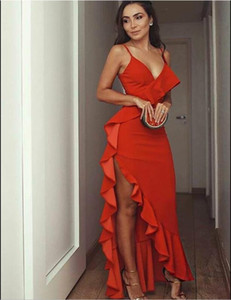 Hot Red Prom Dresses Ruffles Spaghetti Straps Long Mermaid Spaghetti Long Formal Evening Dress Pageant Gowns Plus Size on Sale