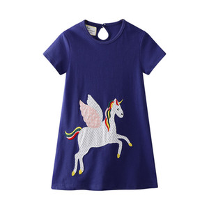 ingrosso vestiti americani dei capretti-Kids Designer Clothes Girl Summer Girl Dress con Unicorno Animali Appliques Toddler Party Dress Abiti stile europeo americano Baby Girl