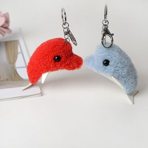 Wholesale Cute Blue Dolphin Key Chain Cartoon Leather Stuffed Soft Plush Doll Animal Keyring Keys Bags Accessories Women Gift Keychain Toy