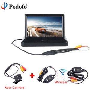 "Podofo Wireless 5"" Foldable Car Rear View Monitor Color LCD TFT Display Screen Night Vision for Vehicle Backup Rearview Camera"