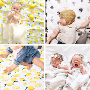 Wholesale Newborn Baby Blanket Infant Cotton Fruits Flower Swaddle Wrap Bath Towels fruits Print Muslin Baby Blankets Bedding Infant