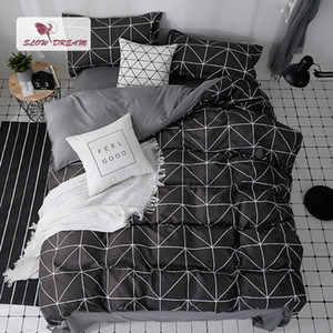SlowDream Black Bed Cover Set Geometric Duvet Cover Double Queen Flat Bed Sheets Nordic Bedclothes Home Textiles Bespread Set on Sale