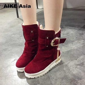 Wholesale 2019 Women Winter Shoes Women s Middle Barrel Boots The New Fashion Casual Flat Warm Woman Snow Botas Mujer Bottes Thicken