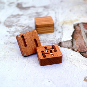 Wholesale Men Vintage Wood Jewelry Cuff Links Packaging Box Luxury Groom Case Wedding Party Cufflinks Wooden Gift Boxes ZC0412
