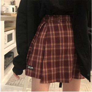 Wholesale 3 colors S L autumn and winter Women Shorts Skirts Korean High Waist A line Shorts girls plaid irregualr X882