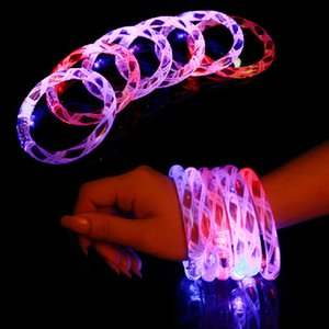Wholesale 2017 Acrylic Glitter Glow Flash Light Sticks LED Crystal Gradient Color Hand Ring Bracelet Bangle Creativity Dance Party Supplies Toy