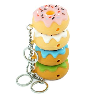 Wholesale unbreakable Donut Style Smoking hand Pipe spoon ppipe with keychain and glass bowl Smoking Accessories oil rig colors