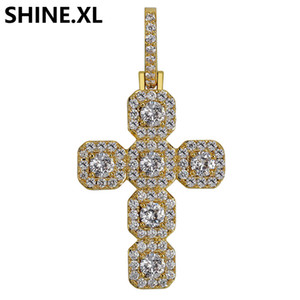 Wholesale Iced Out Chain Mens Hip Hop Gold Silver Plated Cross Necklace Charm Chains Jewelry Gift