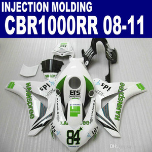 Injection OEM ABS bodykits for HONDA CBR1000RR 2008-2011 fairings CBR 1000 RR green white HANNSpree fairing kit 08 09 10 11 #U92