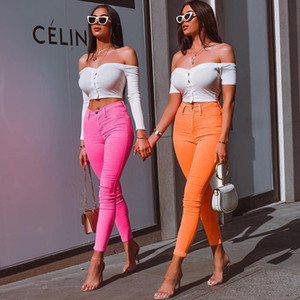 Wholesale Fluorescent Color Womens Pencil Pants 3 Colors Skinny Solid High Waist Skin Tight Pants Ins Hot Sale Itgirl Clothing
