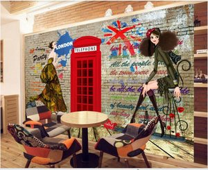 Wholesale retro modern home decor resale online - 3D wall covering custom mural wallpaper Retro nostalgic British European KTV bar background wall modern home decor wall papers
