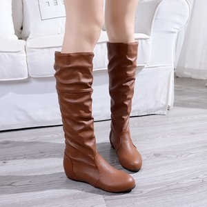 Wholesale 2019 autumn and winter new women s boots Europe round head anti skid inside increased flat bottom non slip wild wild large size women s shoe