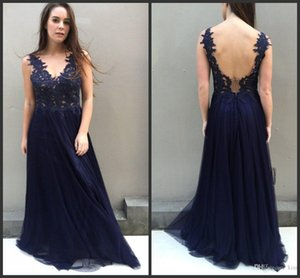 2020 Cheap Navy Blue Prom Dresses Sexy Deep V Neckline Open Back Beaded Lace Formal Evening Gowns Long Cocktail Party Ball Dress