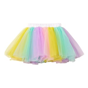 Wholesale Girls Tutu Skirts T Kids Pettiskirt Girl Princess Tulle Skirt Elastic Waist Colorful Ball Gown Rainbow Skirts Baby Girl Clothes