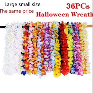 Wholesale 36pcs Hawaiian Garland Flowers Decoration Garland Artificial Necklace Flowers Leis Evening Beach Funny Wreath DIY