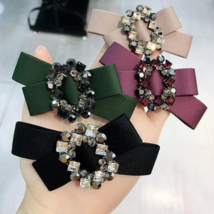 Wholesale Hot sale NEW High grade Czech diamond fabric bow temperament spring clip steel clip ponytail top fashion hair accessories