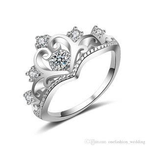 New 2019 Lovers Crown ring Girl Zircon Cz 925 Sterling Silver Filled Engagement wedding Band ring for women men