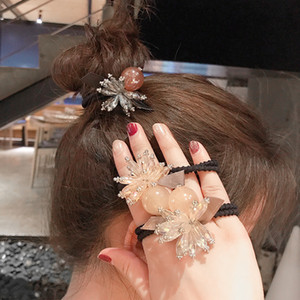 Wholesale hair jewerly resale online - 2020 new pearl crystal flower Tousheng female hair jewerly rubber band hair rope head ring female headdress Hair Rubber Bands high quality