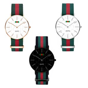 Wholesale Luxury Watch Fashion Nylon Ultra thin Watch Neutral Watch Simple Red Green Stripes Straps Unisex Women Men Wristwatches MM MM C71702