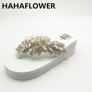 Wholesale HAHAFLOWER women sandals shiny diamond crystals handmade pearl slip on sandal slides bohemia slippers wedge platform heels