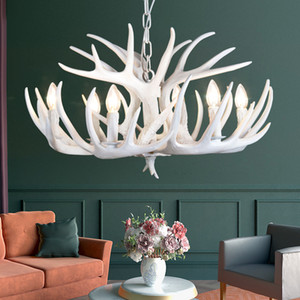 Wholesale antlers light resale online - Brown White Resin Antler Vintage Chandelier Lighting Arms E14 Luxury Chandeliers For House Lighting Fixtures