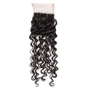 YAHLIGS Lace Closure 100% Real Hair Piece Lace 4*4 Hair Curtain Accessories Deep Wave Hair Extensions Direct factory J36 on Sale