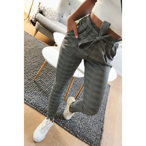 2019 New Elegant Houndstooth Plaid Pants Pockets Retro Office Lady Wear Casual Fashion With Sash Trousers Mujer MX190717 on Sale