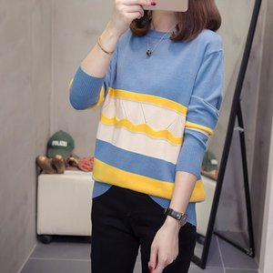 Wholesale 2019 New Boyfriend Women s Sweaters Kawaii College style Stripes Moon Sets Embroidery Sweater Female Harajuku Clothing For Women
