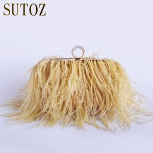 Luxury Ostrich Feathers Fur Clutch Evening Bags Women's Handbag Purse Pouch Crossbody Bag Messenger Lady's Purse Party Bag BA379