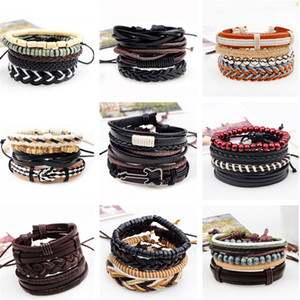 Wholesale 3 set Series Boho Gypsy Hippie Punk Beige Cord Wrap Black Brown Leather Wooden Beads Layers Stack Bracelets Sets for Man