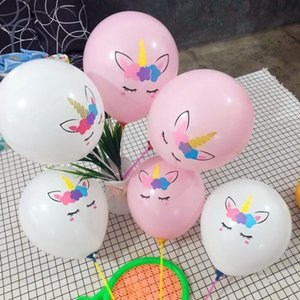 Wholesale Children Baby Birthday Gift Balloons Party Decoration Inflatable Latex Unicorn White Pink Balloons Wedding Christmas Balloon BH0545 TQQ