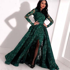 Wholesale Arabic Emerald Green Lace Long Evening Dresses Long Sleeves Split Sweep Train Formal Prom Party Dresses BC2652