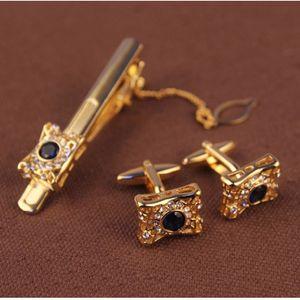men's cuff links & tie clip sets sleeve button cuff button stickpin set tie bar cuff-link suit shirt accessories golden silver