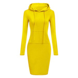 Wholesale Yellow Hooded Drawstring Fleeces Women Dresses Autumn Winter Warm Dress Women Vestidos Hoodies Sweatshirt Dress