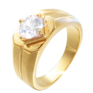 Wholesale Simple Style Gold Silver color Wedding Rings with Beautiful Zircon Engagement Rings Jewelry Men Women Fine Wedding Ring Jewelry