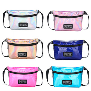 Wholesale Pink letter Fanny Pack Hologram Laser Waist Belt Bag Waterproof phone bag Translucent Shiny Travel Beach hand Bags